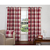 Hannah Ready Made Curtains Pair, 66 x 54 Cranberry Colour, Modern Designer Look Eyelet curtains