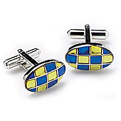Blue and Yellow Check Oval Cufflinks