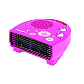 DXDAi2 2kW Daisy Flat Fan Heater with Cool Blow Setting in Pink