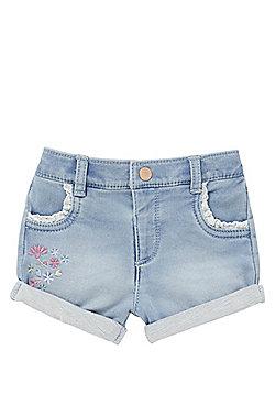 F&F Embroidered Lace Trim Denim Shorts - Blue