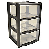 Wham 3 Drawer Tower Grey / Clear