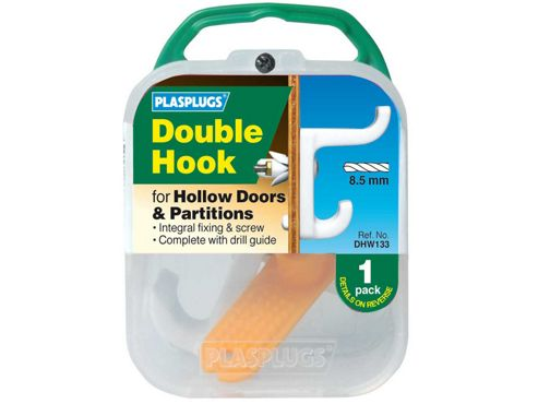 Plasplugs Dhw133 Dbl Hollow Door Hook White
