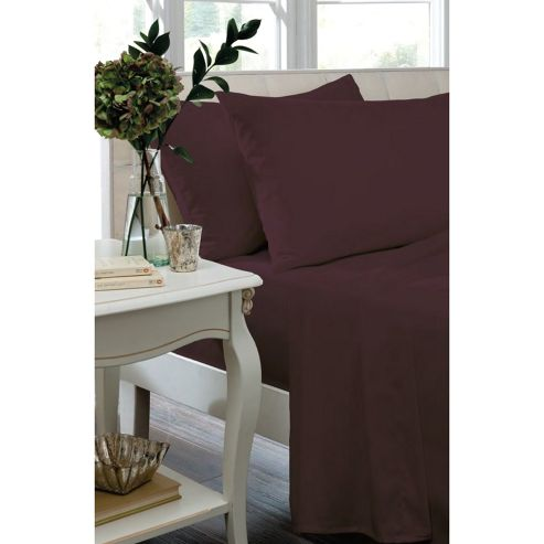 Catherine Lansfield Home Non Iron Percale Combed Polycotton Double Bed Fitted Sheet PLUM