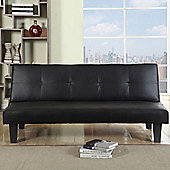 Happy Beds Franklin Sofa Bed Faux Leather Upholstery Office Guest Black