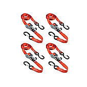 Master Lock Ratchet Tie-Down + S Hooks 4.25m Set of 4 Red