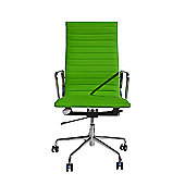 EA119 High Back Ribbed Green Faux Leather Office Chair