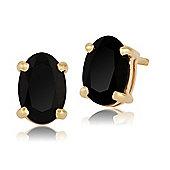 Gemondo 9ct Yellow Gold 0.98ct Black Onyx 4 Claw Set Oval Stud Earrings 6x4mm
