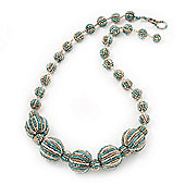 Light Blue/White Graduated Glass Bead Necklace - 50cm Length