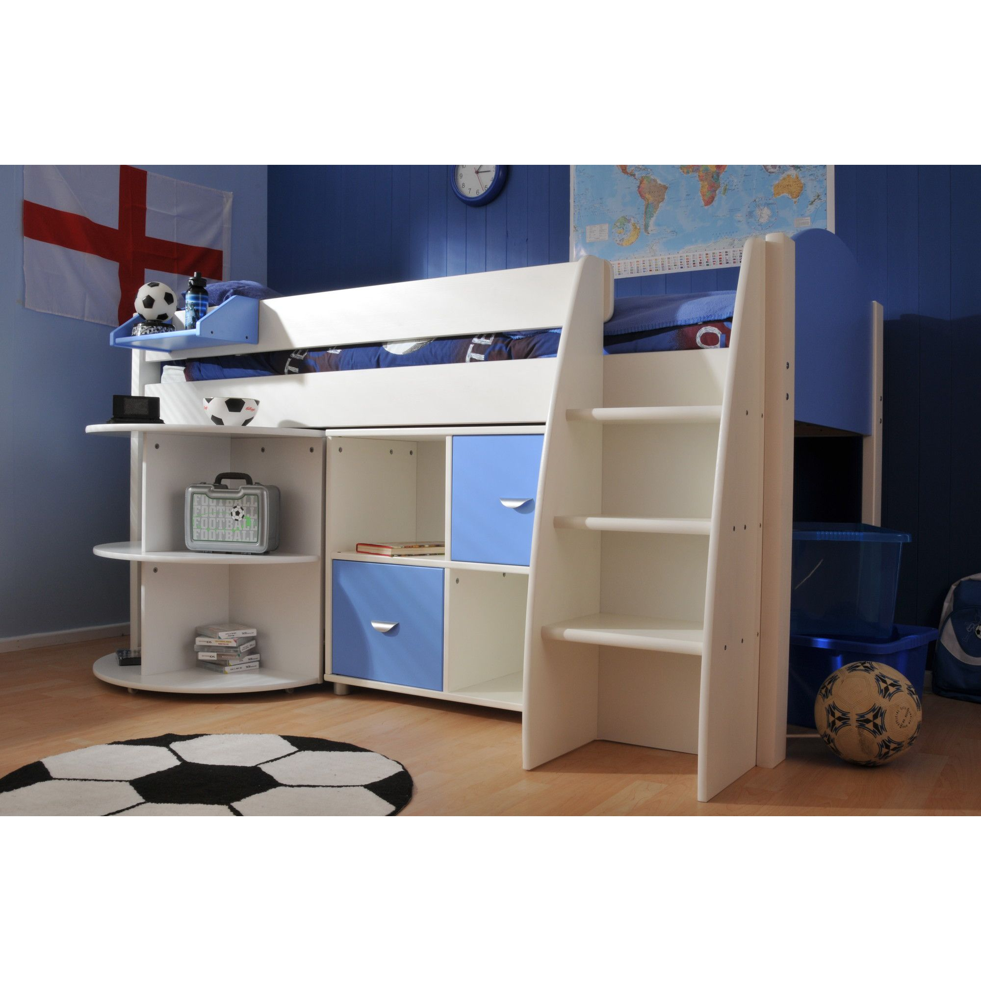 Stompa Rondo Mid Sleeper with Cube Unit and Extending Desk - Blue - White at Tescos Direct