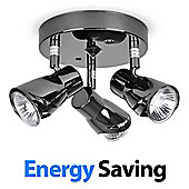 Sleek 3 Way Energy Saving GU10 Ceiling Spotlight, Black Chrome
