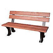 Armless Red Bench in Recycled Plastic