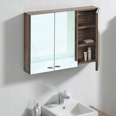 Buy Prestige Oslo Triple Door Mirrored Bathroom Cabinet 650mm High X 900mm Wide Light Walnut