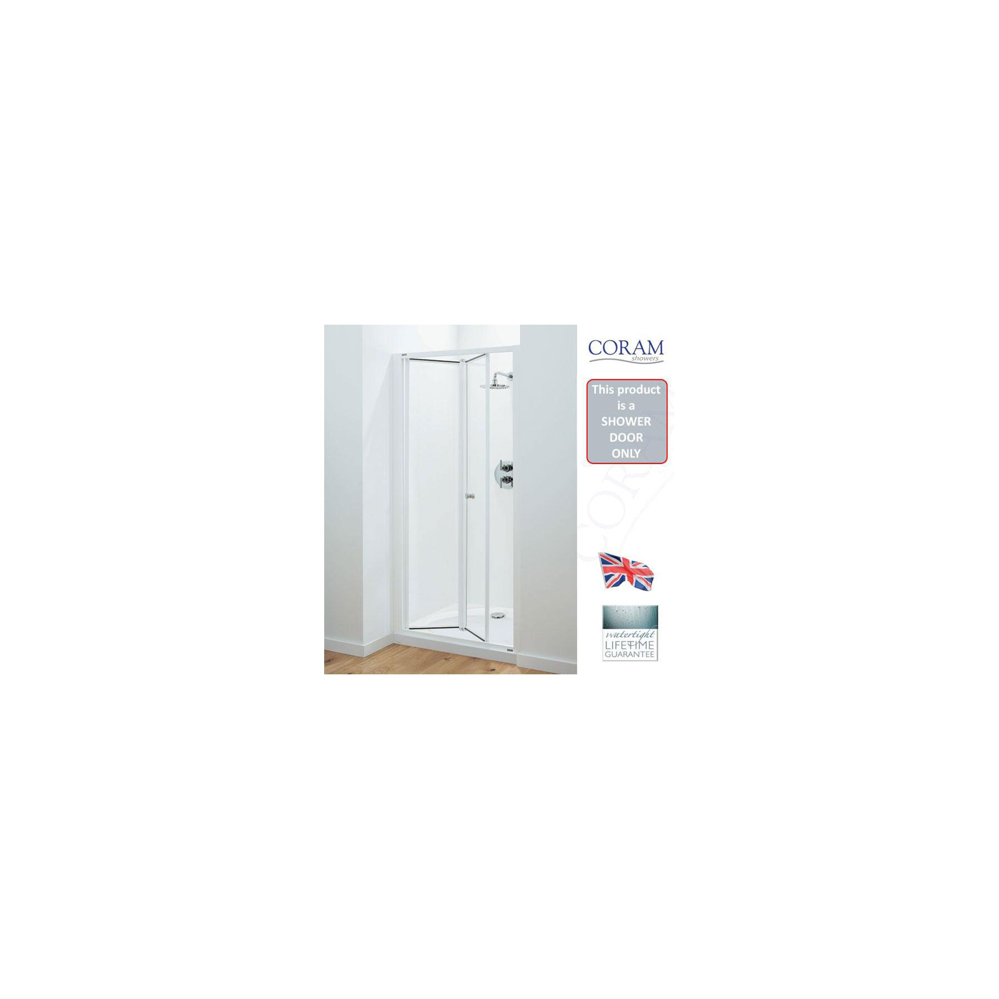 Coram Optima Bi-Fold Shower Door, 900mm Wide, Chrome Frame, 6mm Plain Glass at Tesco Direct