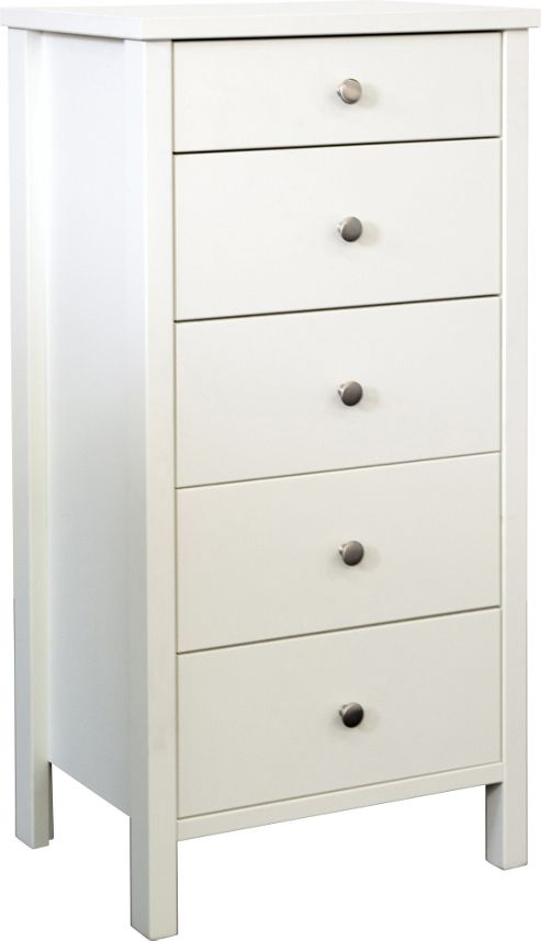 Home Essence Talmo 5 Drawer Narrow Chest in White