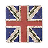 Union Jack Flag Coaster in a Vintage Design - Single Blue