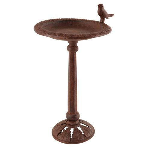 Fallen Fruits Cast Iron Bird Bath On Pole