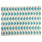 Triangle Wool Rug 80 x 150cm, Blue