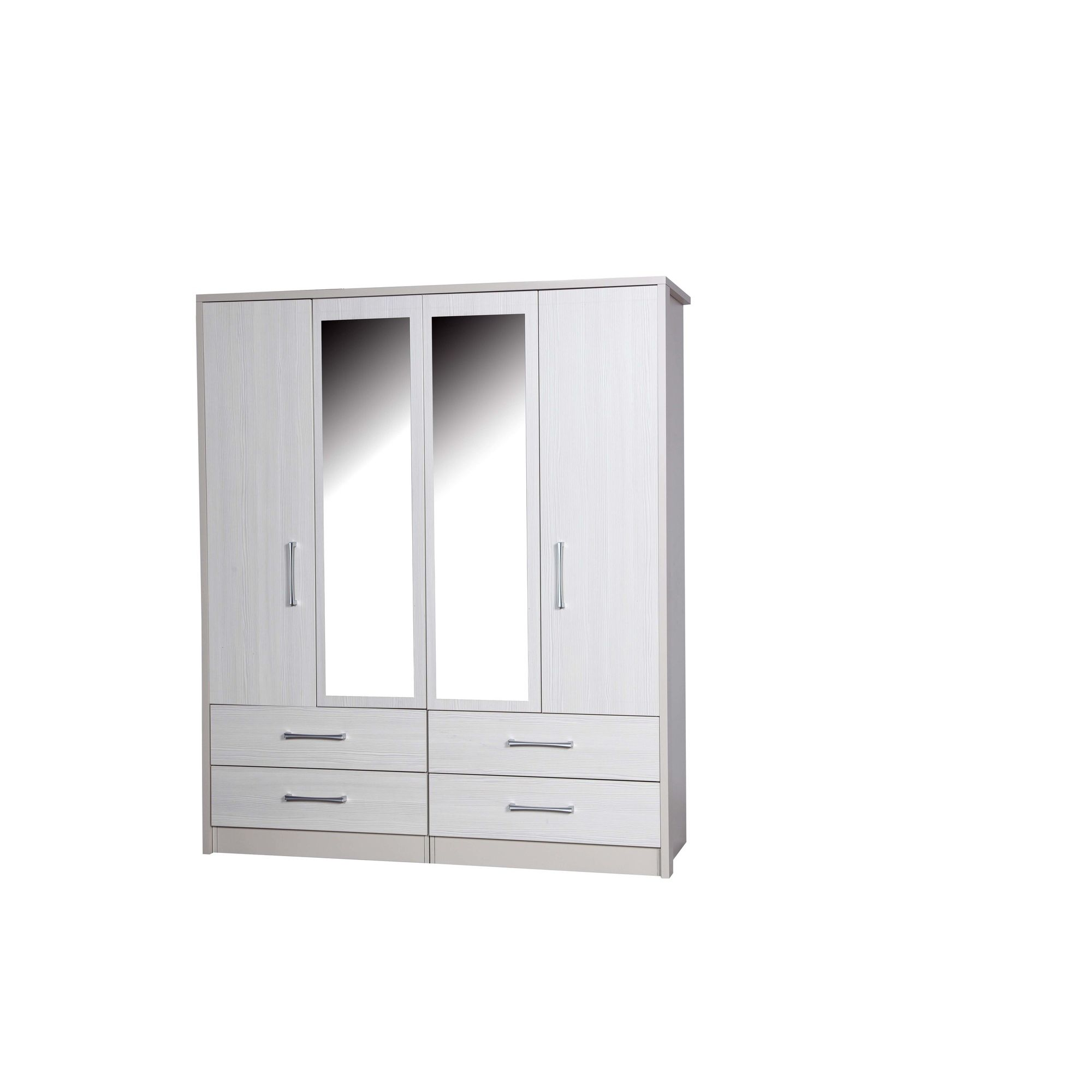 Alto Furniture Avola 4 Door Combi Wardrobe with 2 Mirrors - Cream Carcass With White Avola at Tescos Direct
