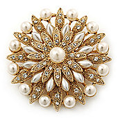 Bridal Vintage Inspired White Pearl, Swarovski Crystal Layered Floral Brooch In Gold Plating - 50mm Diameter
