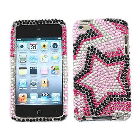 iTALKonline Screen Protector and Premium FunkGem Star Shine 2 Part Case Black/pink/White - For Apple iPod Touch 4