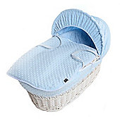 Isabella Alicia White Wicker Moses Basket (Dimple Blue)