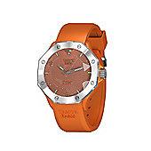 Tresor Paris Watch - ISL - Stainless Steel Bezel & Crystal Dial - Orange Silicone Strap - 44mm