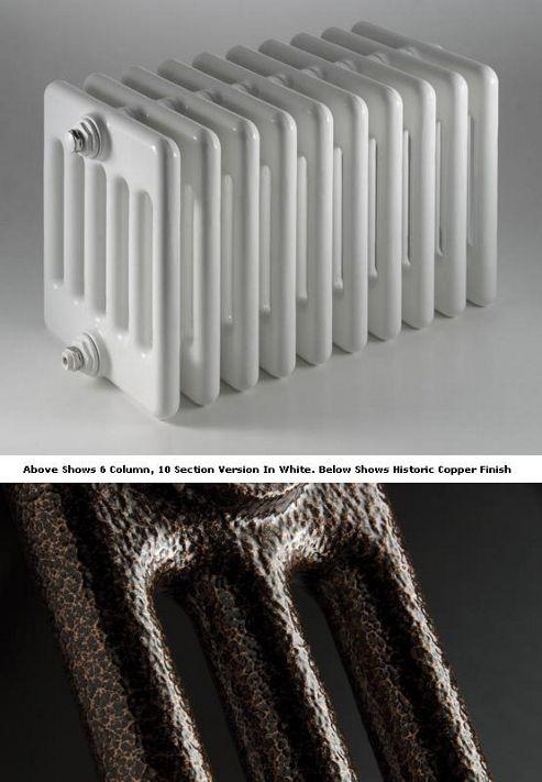 DQ Heating Peta 2 Column Designer Radiator - 592mm High x 945mm Wide - 21 Sections - Historic Copper