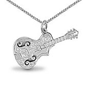Jewelco London Sterling Silver - Rhodium plated cello - Pendant - Unisex