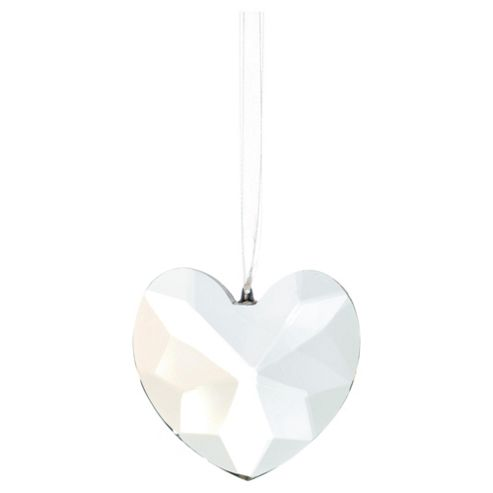 Festive Crystal Heart with Bow Hanging Decoration