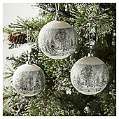 Tesco Frosted Landscape Baubles, 4 Pack