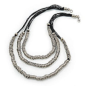 3 Strand Silver Tone Metal Rings Black Waxed Cotton Cord Necklace - 64cm Length