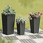 Set of 3 Suntime Amalfi Black Rattan Planters