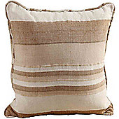 Homescapes Cotton Morocco Striped Beige Prefilled Cushion, 60 x 60 cm