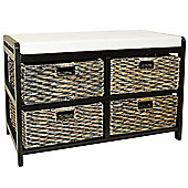 Canterbury - Double Storage Bench With Baskets - Brown / Black