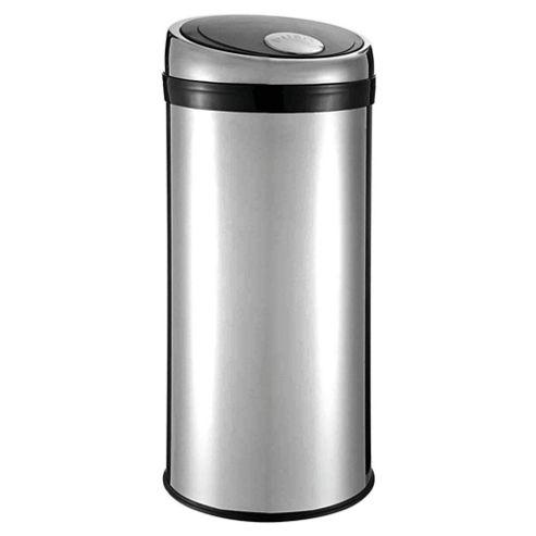 Tesco 30L Stainless Steel Push Top Open Kitchen Bin With Black Lid