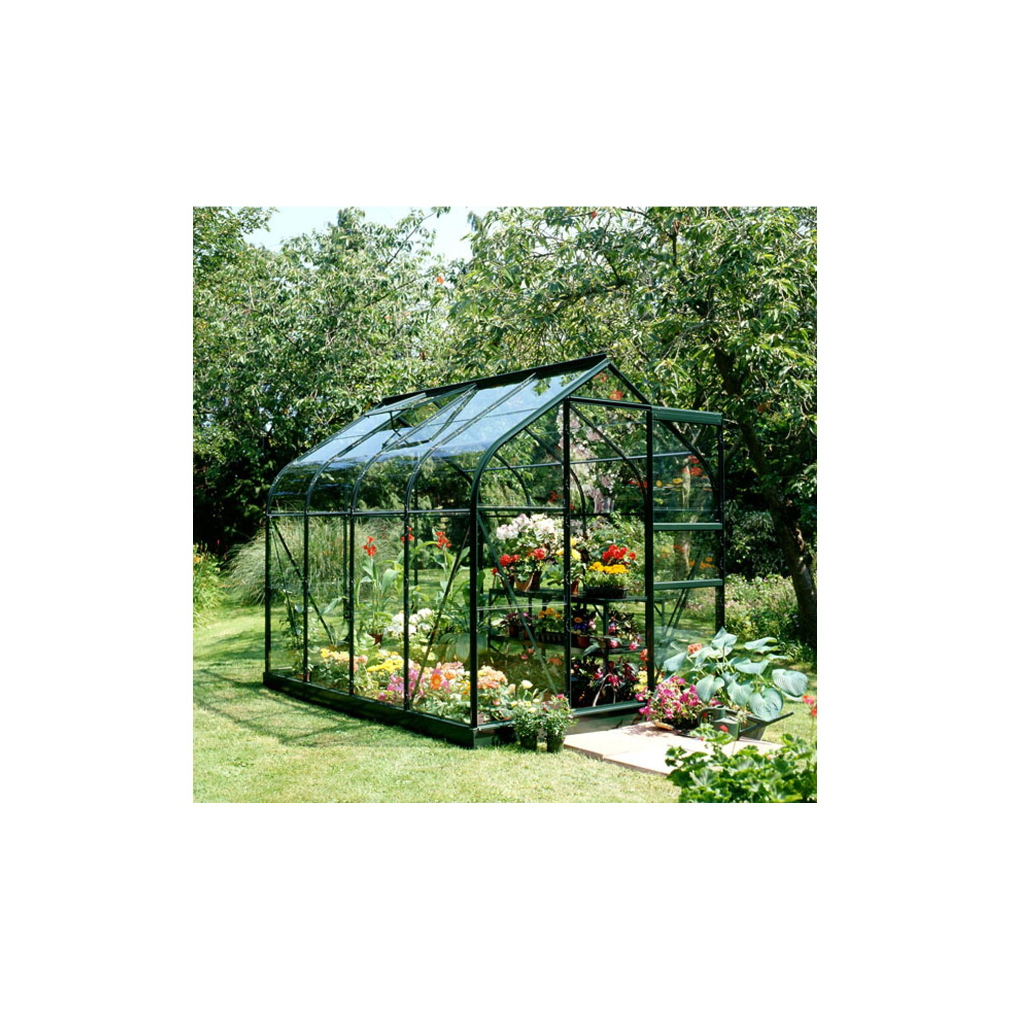 Halls 8x6 Supreme Greenframe Greenhouse + Base - Toughened Glass at Tesco Direct