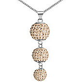 Jewelco London Sterling Silver Peach Crystal Disco Ball Drop Necklace - 18 inch Chain