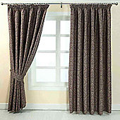 "Homescapes Purple Jacquard Curtain Floral Damask Design Fully Lined - 90"" X 72"" Drop"
