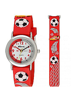 Boys Red Football Time Teacher Watch
