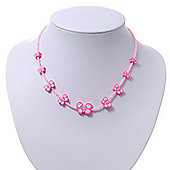 Children's Pink Butterfly Necklace - 36cm Length/ 4cm Extension