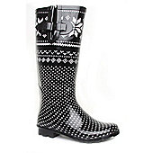 Brantano Ladies Aztec Black Wellington Boots