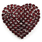 Burgundy Red Diamante Heart Brooch (Silver Tone)