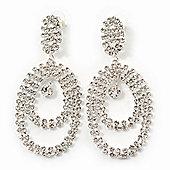 Large Clear Crystal Oval Hoop Earrings In Rhodium Plating - 8cm Length