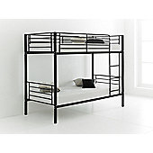 Happy Beds Cherry 3ft Black Metal Bunk Bed 2x Orthopaedic Mattress