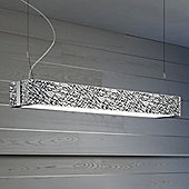 Leucos Block Pendant in Steel / White - White and Platinum