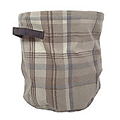 McAlister X-Large Fabric Storage Basket - Natural Grey Wool Look Tartan Check