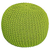 Light Weight Knitted Pouffe Lime