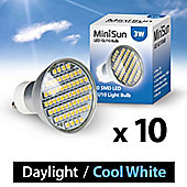 Pack of Ten MiniSun 3W 58 SMD LED GU10 Light Bulbs Cool White