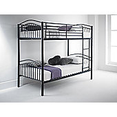 Happy Beds Capri 3ft Black Metal Bunk Bed 2x Memory Foam Mattress