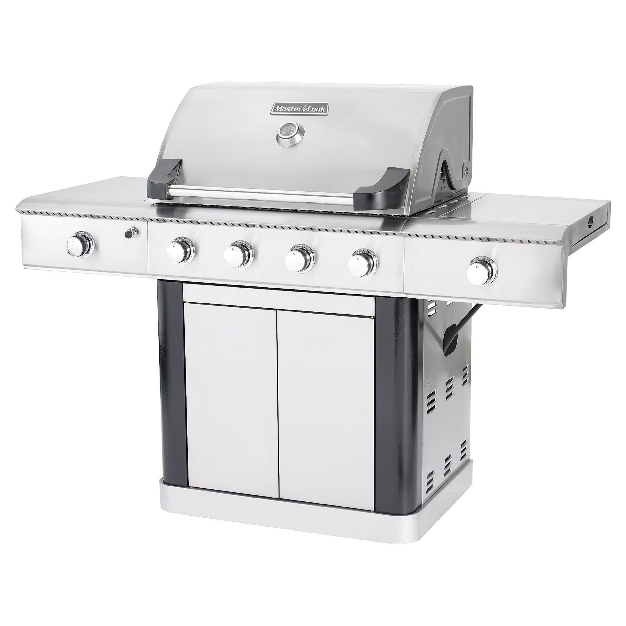 Mastercook 4 BURNER GAS GRILL S/S with black trim at Tesco Direct